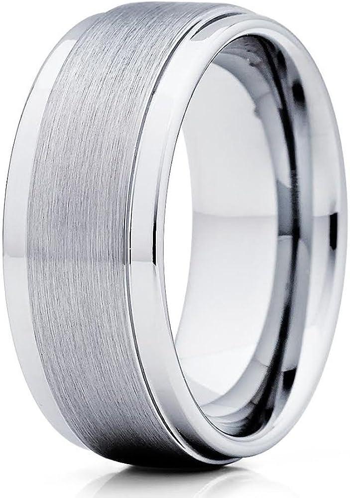 Tungsten Wedding Ring 9mm Men & Women Silver Tungsten Wedding Band Engagement Tungsten Ring Brush Comfort Fit