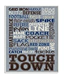 The Kids Room by Stupell Stupell Home Décor Football Typog Denim Feel Wall Plaque Art, 10 x 0.5 x 15, Proudly Made in USA