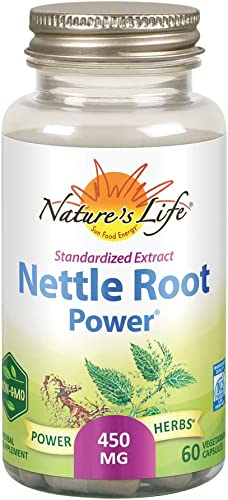 Nature s Life Nettle Root Power 450mg Herbal Supplement Prostate Urinary Tract Health Formula for Men Non-GMO Lab Verified 60 Veg Caps
