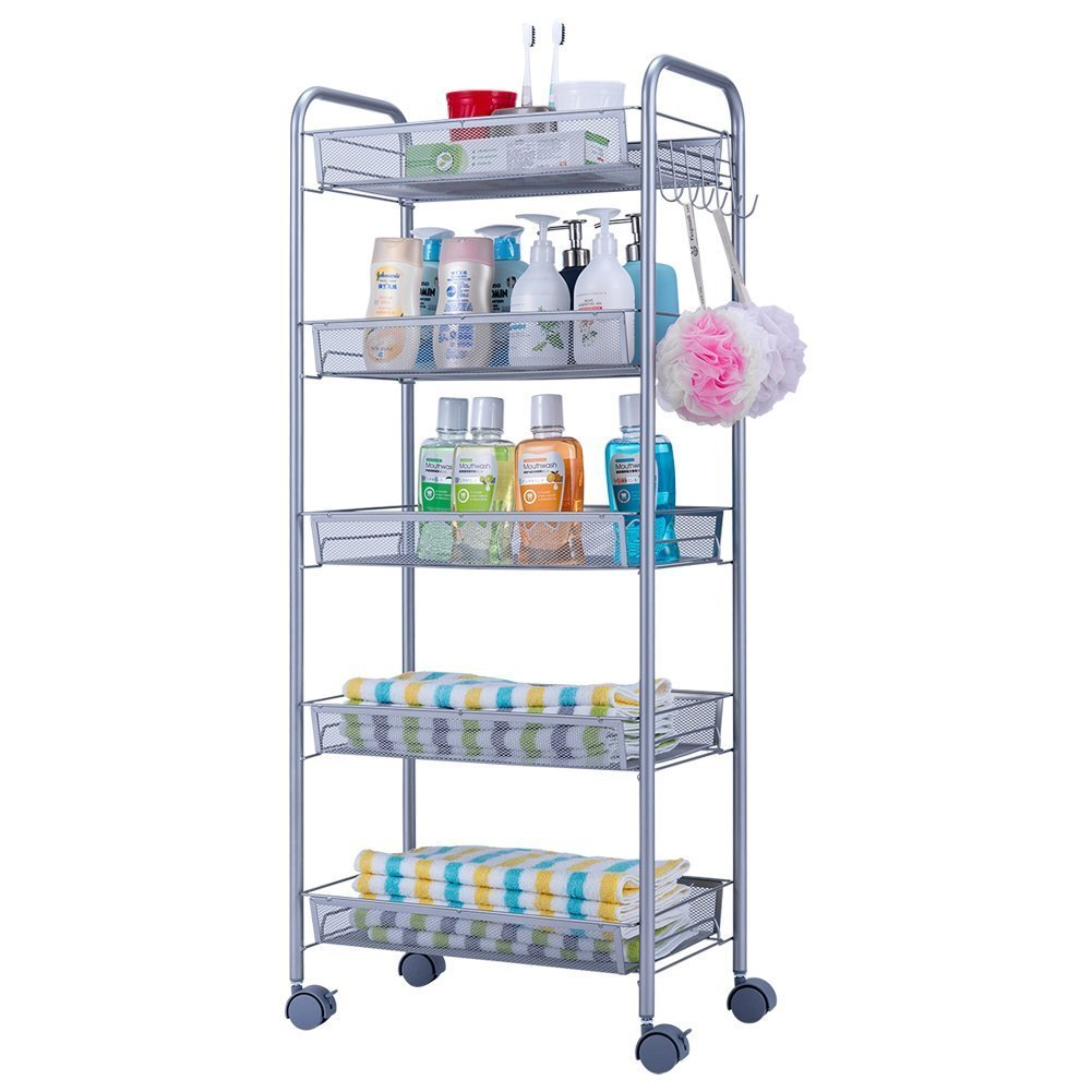 JS HOME 5-Tier Storage Cart Mesh Kitchen Rolling Cart - Silvery Grey