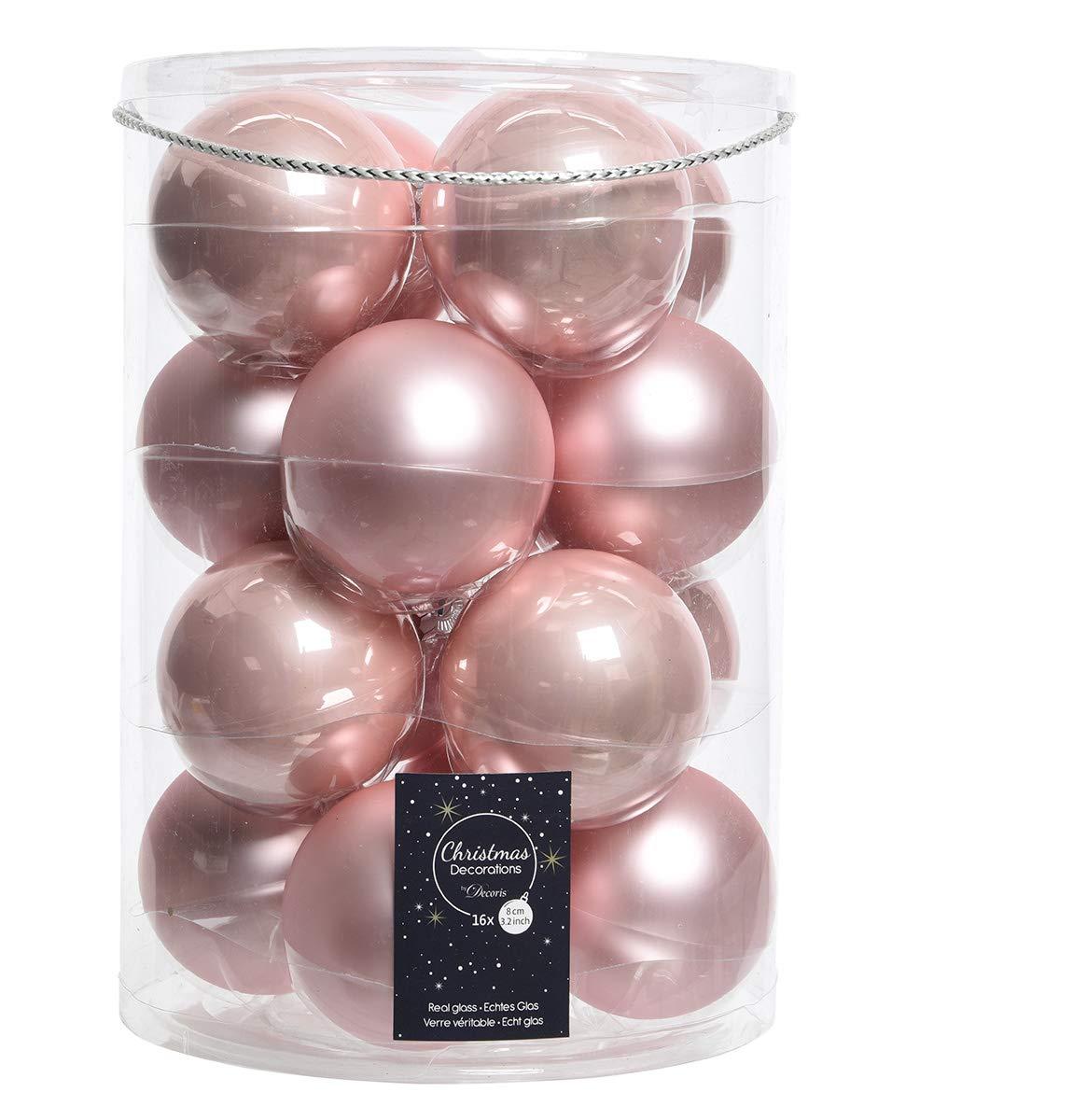 16 palline di Natale in vetro 8 cm rosa chiaro opal//matt palline di Natale
