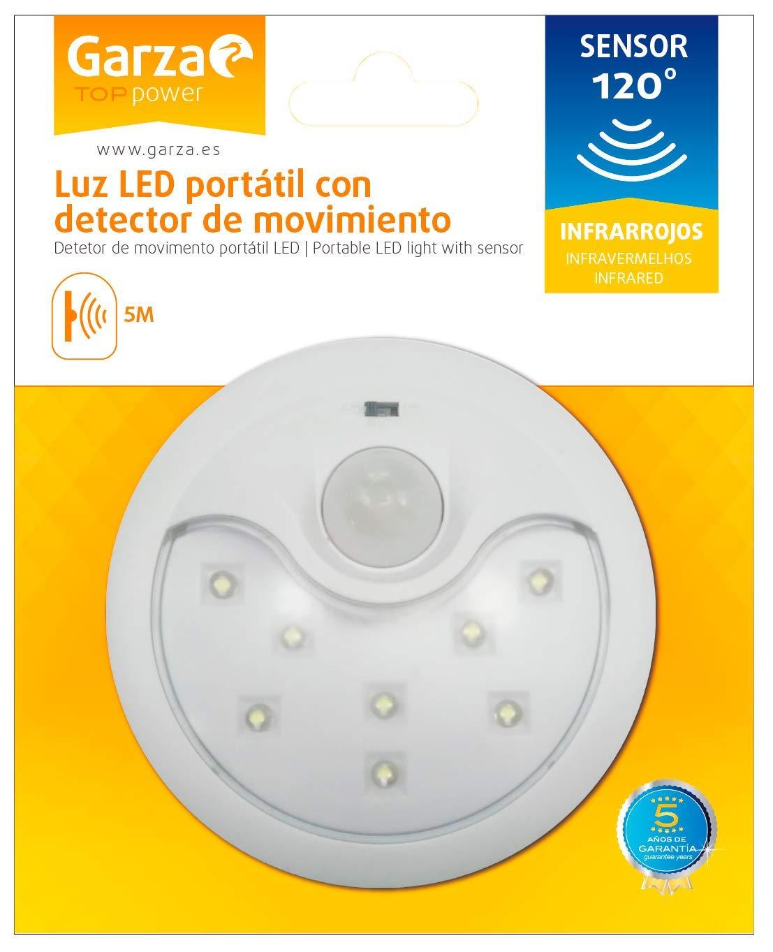 Garza Power - Detector de Movimiento Infrarrojos con Luz LED Quitamiedos, sistema Portátil, ángulo de Detección 120º, color Blanco: Amazon.es: Bricolaje y ...
