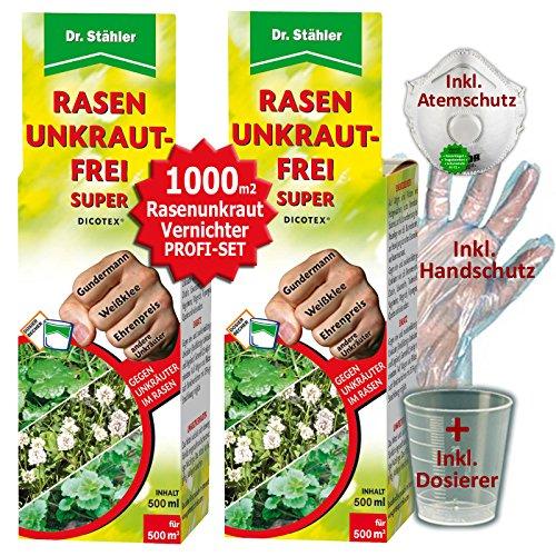 Dicotex Rasen Unkraut-Frei | Dr. Stähler | (2 x 500ml) | Rasen Unkrautvernichter als Set für ca. 1000m2 | GREEN24® + Messbecher + Handschutz + Atemschutz