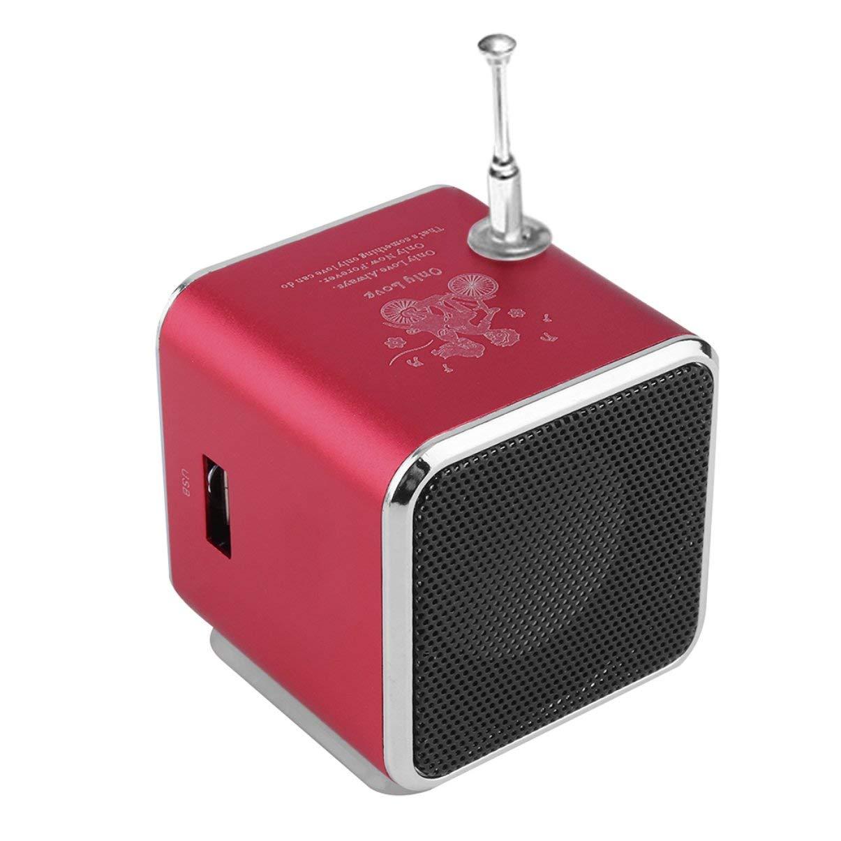 Altoparlante portatile Super Mini stereo mini USB in lega di alluminio Ubwoofer Musica MP3 4 Ricevitore radio FM rosso