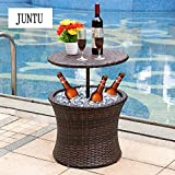 7.5-Gal Cool Bar Rattan Style Outdoor Patio Pool Cooler Table, Brown