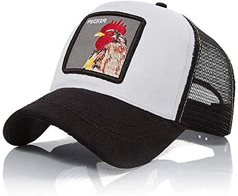 Gorra Visera Curva Trucker Animal Gallo Blanca y Negra: Amazon.es ...