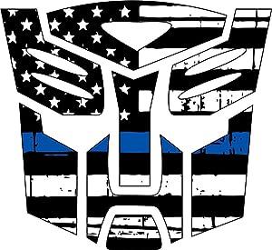 """Thin Blue Line- Transformer Autobot Blue Line Decal Vinyl Sticker 4"""""""