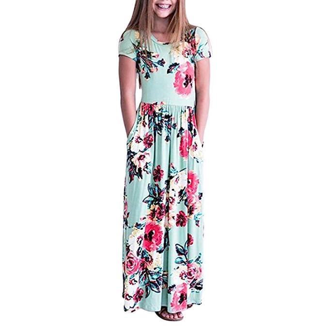 ❤️Elecenty Blumenmuster Sommerkleid Mädchen,Boho Lang Prinzessin ...