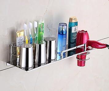 Baldas de baño Cepillo de Dientes Soporte de Pared para Colgar/baño de Acero Inoxidable Cepillo de Dientes Titular Bathroom estantería (Color : # 4): ...