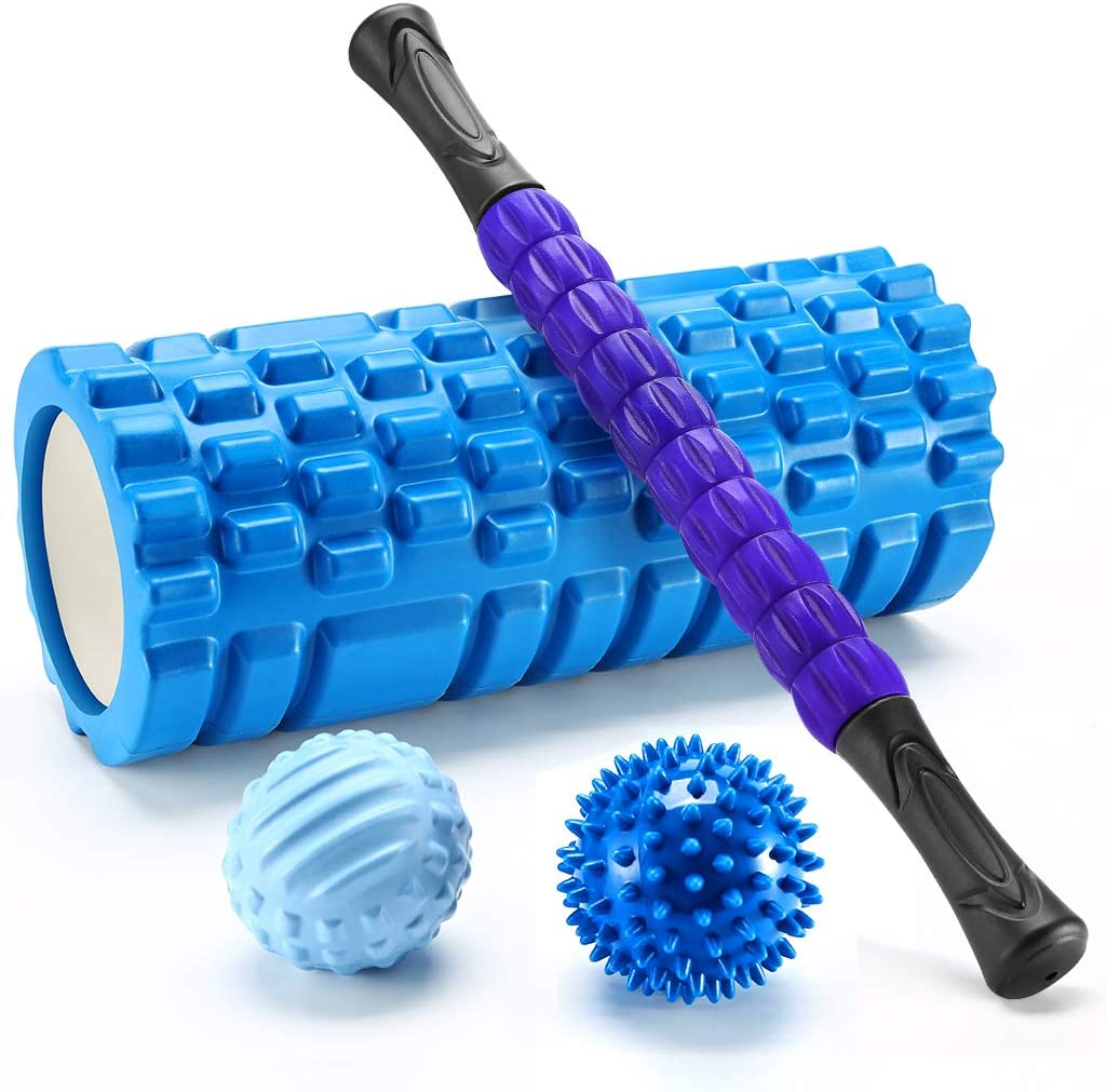 Finether 4 en 1 Rouleau de Massage en Mousse, Bâton De Massage, Balle, Balle Picots, Détente Myofasciale, pour Massage Pilates Yoga Exercise Fitness Gym