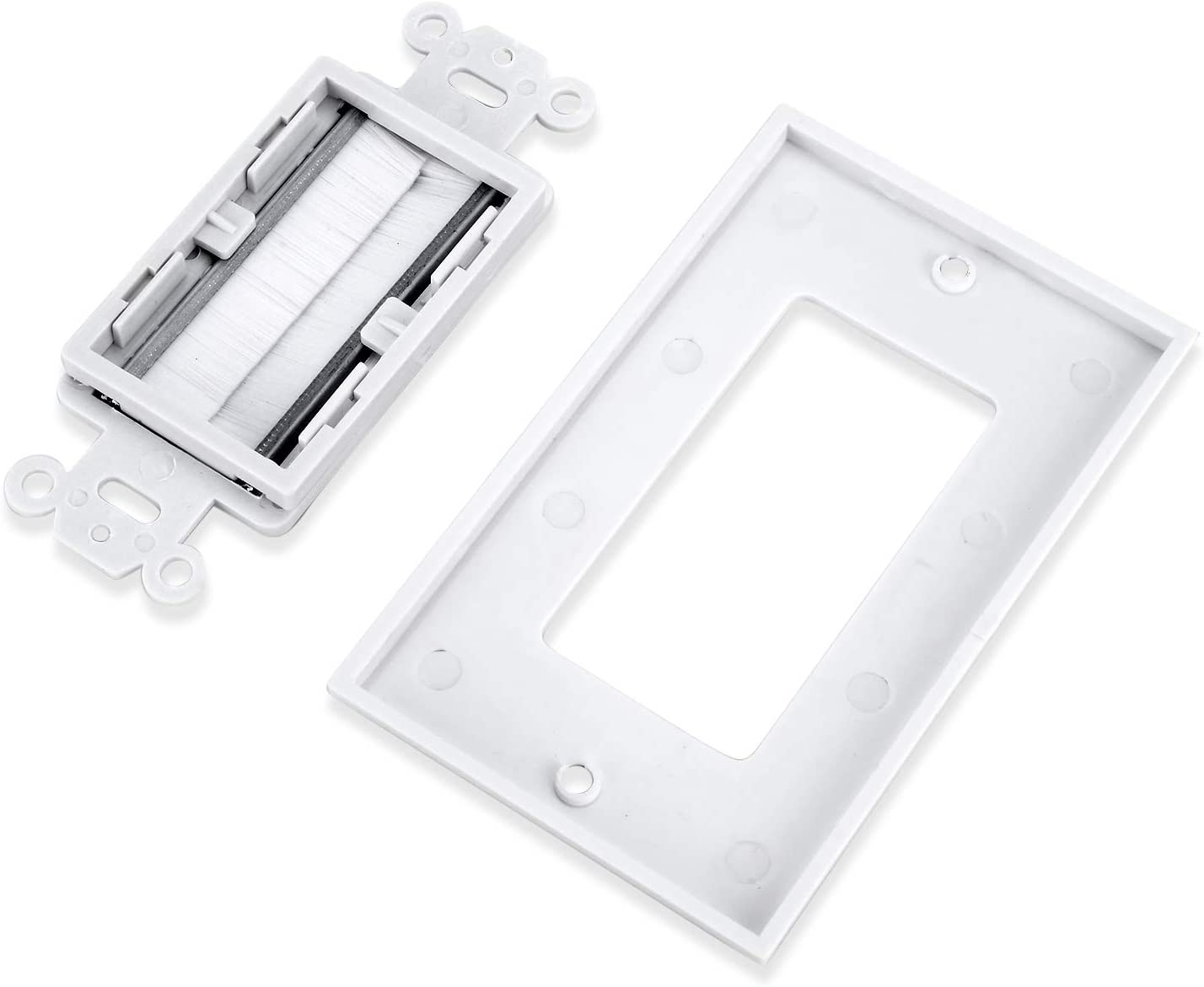 Gang Bracket Wall Cables with Single Gang Low Voltage Mounting Bracket Device UL Listed White Kit Smilelove Brush Wall Plate 5, White Kit