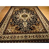 Black Persian Style 5x8 Oriental Area Rug 5x7 Carpet Tabriz Design Rugs