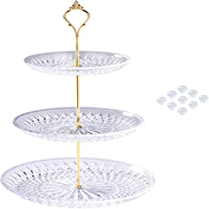 Manspdier Cupcake Stand for Dessert Table NOT JUST 3 Tier Serving Tray, Put Magic Button, Elegant Tiered Serving Tray Become Each Three Serving Trays