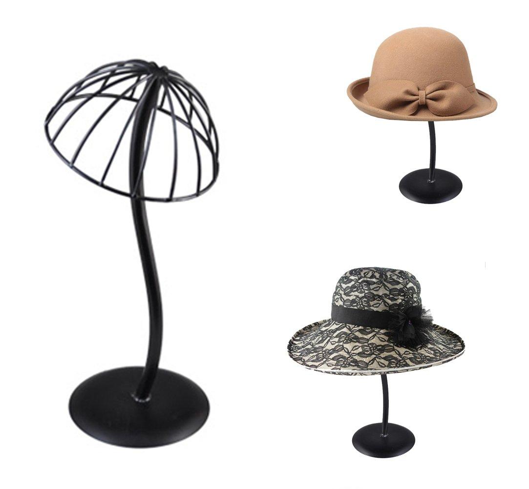 Queens Metal Hat Rack / Wig Holder Storage Display Stand (Black)