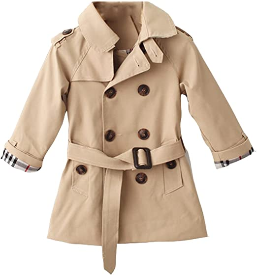 Kids Boy Child Wool Blend Double Breasted Trench Winter Coat Jacket Outwear Size