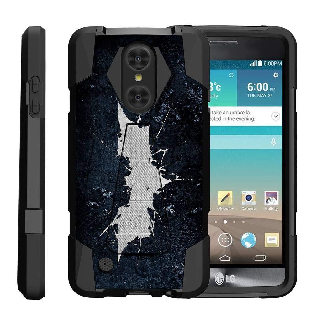 TurtleArmor | Compatible with LG Aristo Case | LG LV3 Case | LG K8 (2017) Case [Dynamic Shell] Hybrid Dual Layer Hard Shell Kickstand Silicone Case - Bat Signal