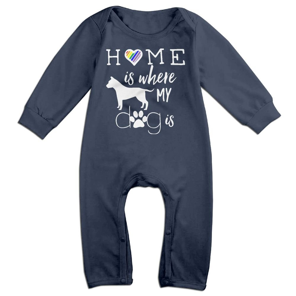 Mri-le1 Newborn Kids Bodysuits Home is Where My Dog is Kid Pajamas