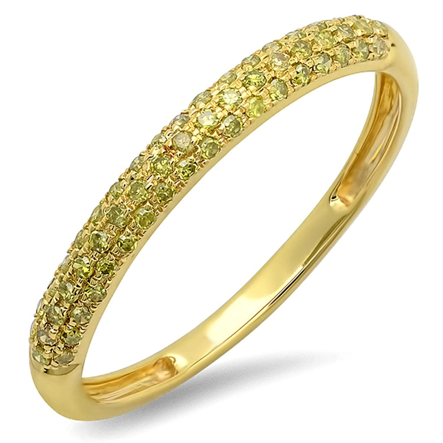 0.25 Carat (ctw) 14k Yellow Gold Round Yellow Diamond Ladies Pave Anniversary Band Stackable Ring 1/4 CT