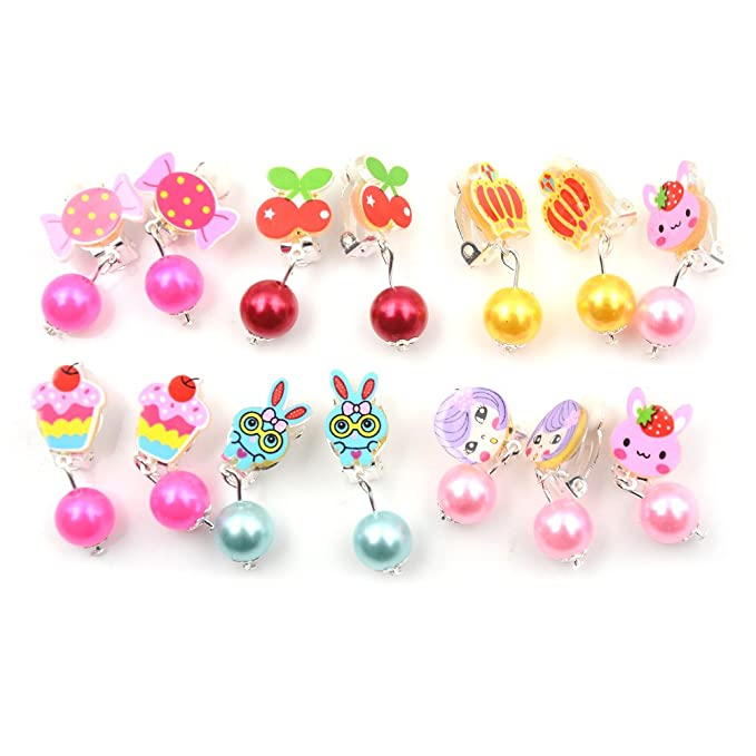 Toyzhijia 7 Pairs Cute Cartoon Earrings With Earring Pad Clip On No