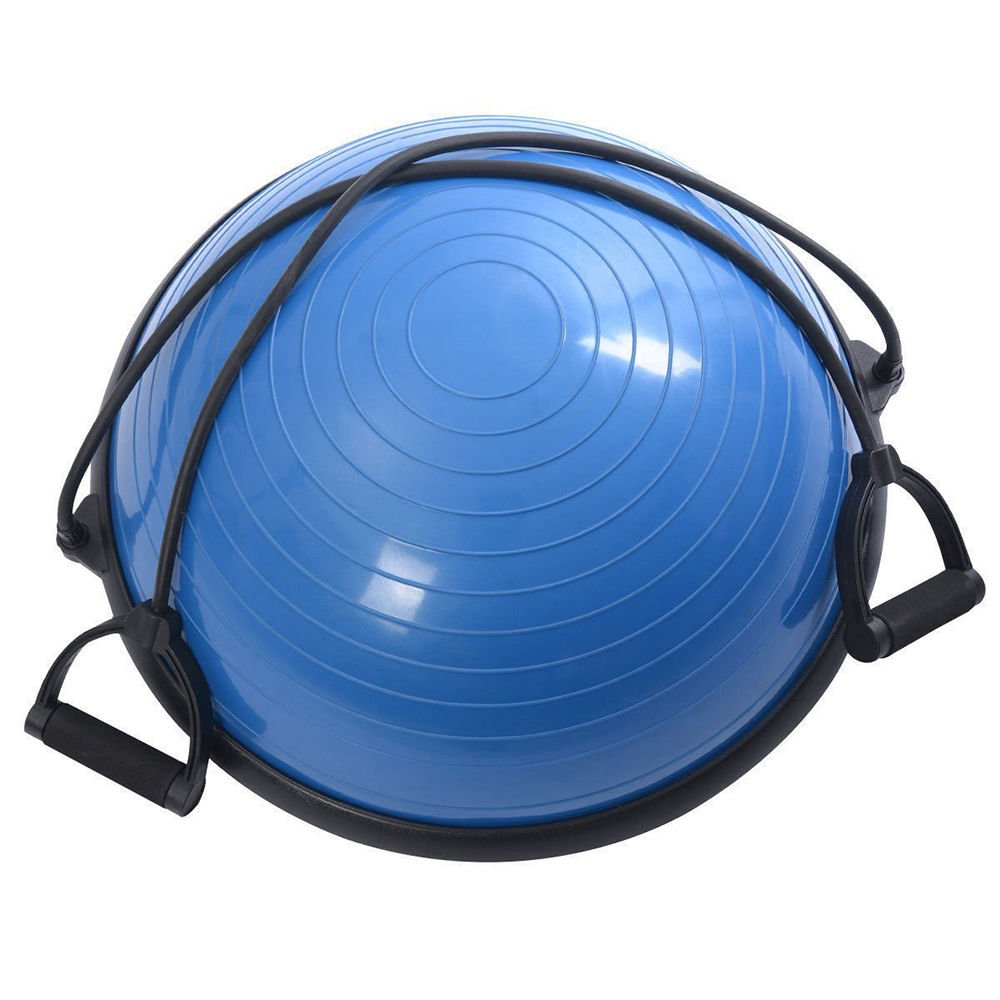Edego 23 Inch, Half Ball Balance Yoga Trainers Fitness Strength Exercise Gear with Hard Pump, Blue by Edego (Image #1)