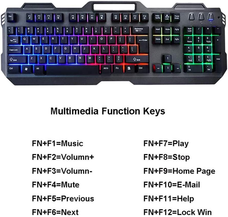 OFNMD Soft Tactile Gaming Keyboard and Mouse Combo,Wired Metal Suspension Waterproof Mechanical Feel Office Computer Notebook Keyboard+Rainbow Backlit Mouse QWERTY Key