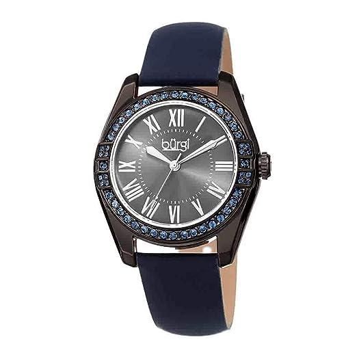 Burgi - Reloj para mujer, con cristales Swarovski, correa de piel auténtica con bordes de colores, números romanos clásicos en la esfera de rayos solares: ...
