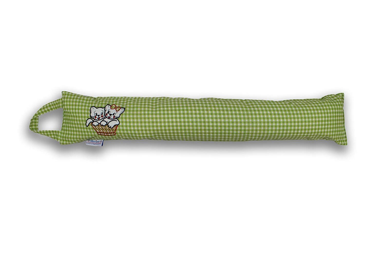 Pink Merino-Betten Zugluftstopper 85cm Zugluftrolle in Verschiedenen Farben mit 2 s/ü/ßen K/ätzchen T/ürluftstopper Schutz vor L/ärm und Zugluft