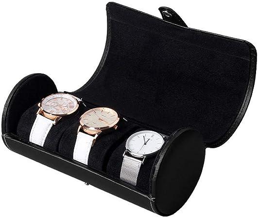 Estuche Organizador de Relojes, Rollo de reloj, 3 rejillas Cilindro Caja de reloj Soporte de reloj Caja de exhibición de joyería Caja de almacenamiento de regalo Elegante Expositor para almacenaje de: Amazon.es: