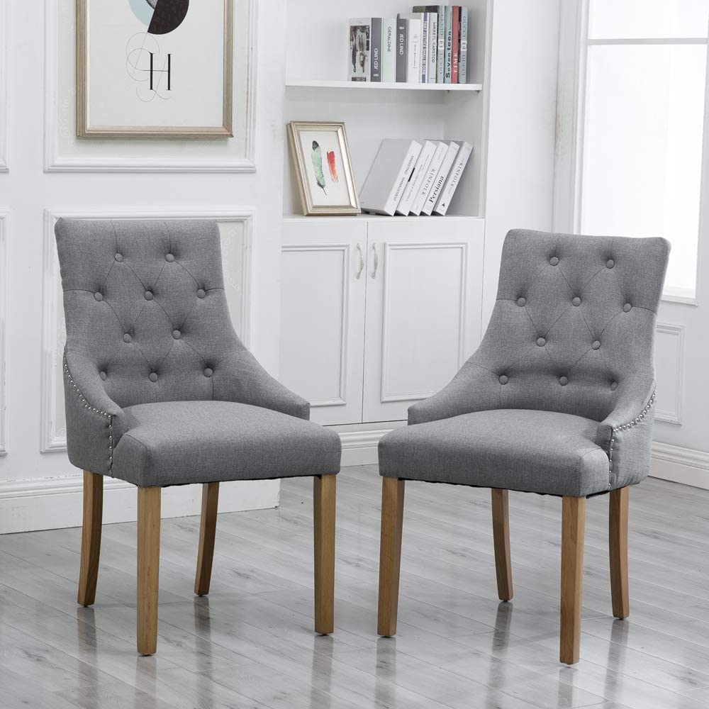 Amazon Com Homesailing Grey Dining Chair With Arms Set Of 2 Hostess Armchairs Comfy Fabric Upholstered With Button For Kitchen Restaurant Living Room Soft High Back Side Chairs Gray Kitchen