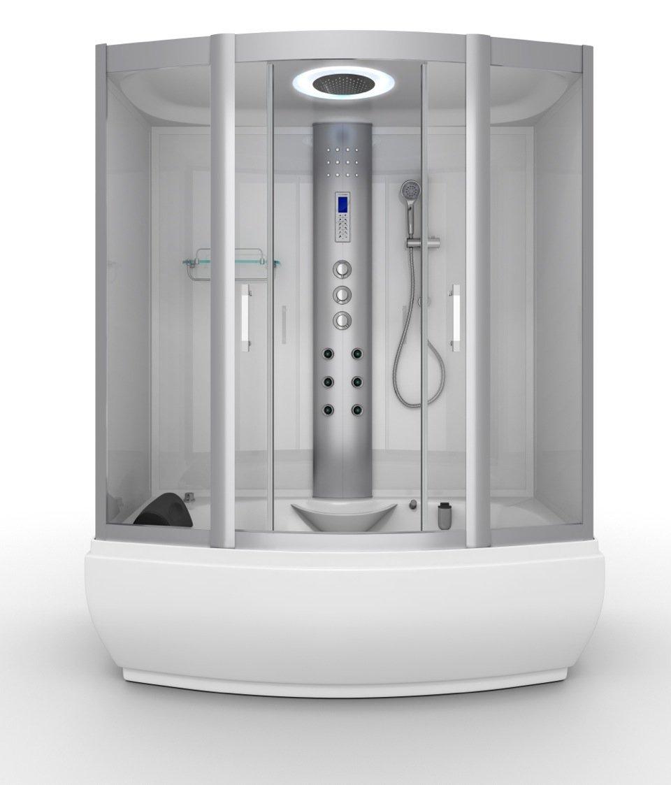 Aqualusso W3 Polar White 1700 x 900mm Whirlpool Bath with Steam ...