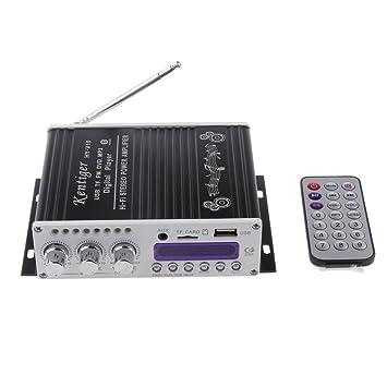 2 Canales Alta Fidelidad Bluetooth HiFi Estéreo AMP Amplificador Bajo Refuerzo para Coche Casa Mp3 Negro