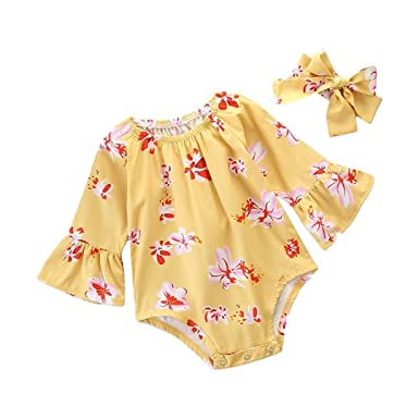 80bcc2a37 Flare Long Sleeve Floral Rompers Bodysuit Baby Kids Girl Infant ...