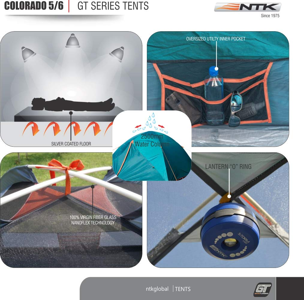 Micro Mosquito Mesh Durable Fabric Full Coverage Rainfly NTK Colorado GT 5 to 6 Person 10 by 10 Foot Outdoor Dome Family Camping Tent 100/% Waterproof 2500mm Easy Assembly