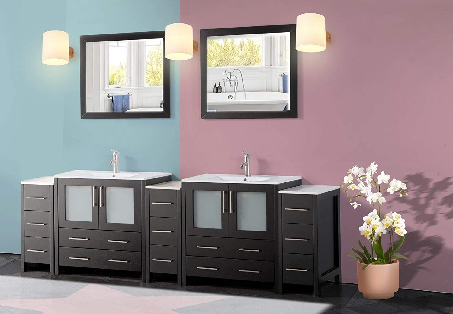 Amazon Com Vanity Art 96 Inch Double Sink Modern Bathroom Vanity Compact Set 2 Shelves 13 Drawers Ceramic Top Under Mount Sink Bathroom Cabinet With Two Free Mirrors Va3030 96 E Kitchen Dining