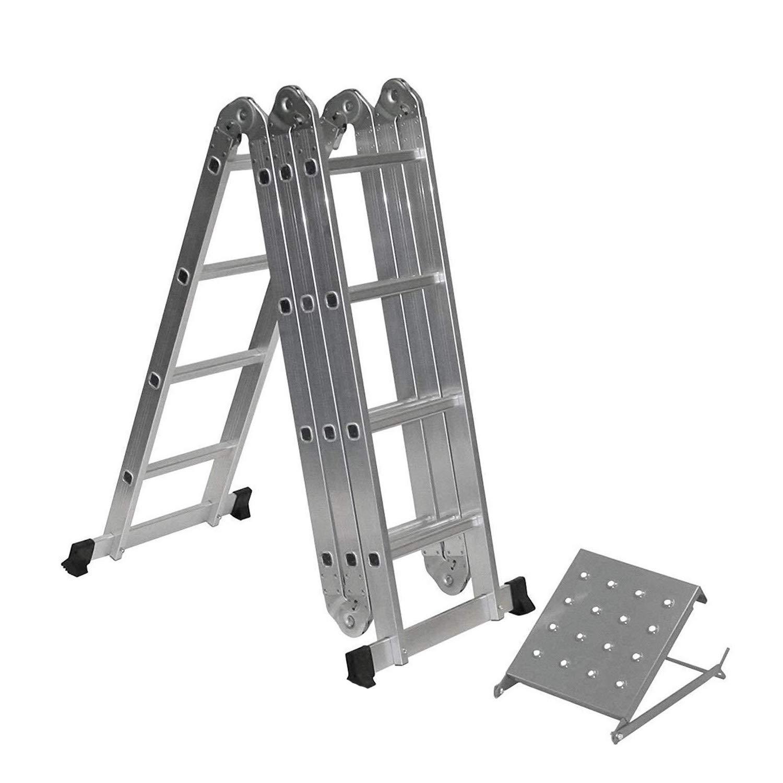 mit einem Werkzeugablage leicht Scharniere klappbar 330 kg Kapazit/ät EN 131 Standard Kombi-Leiter 4 m Aluminium ausziehbar Mehrzweck-Leiter Sicherheits-Stufen zusammenklappbar