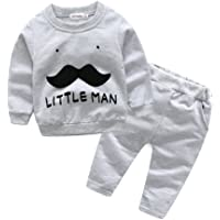 Little Boy 2-Piece Gray Sweater Pullover Shirts Pants Set Fleece Suit