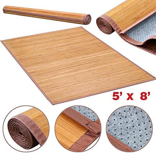 Venice Natural Bamboo 5 X 8 Floor Mat, Bamboo Area Rug Indoor Outdoor