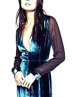 Paule Trevelyan elegante veludo de manga comprida dress transparente sexy mid-calf vestidos de decote