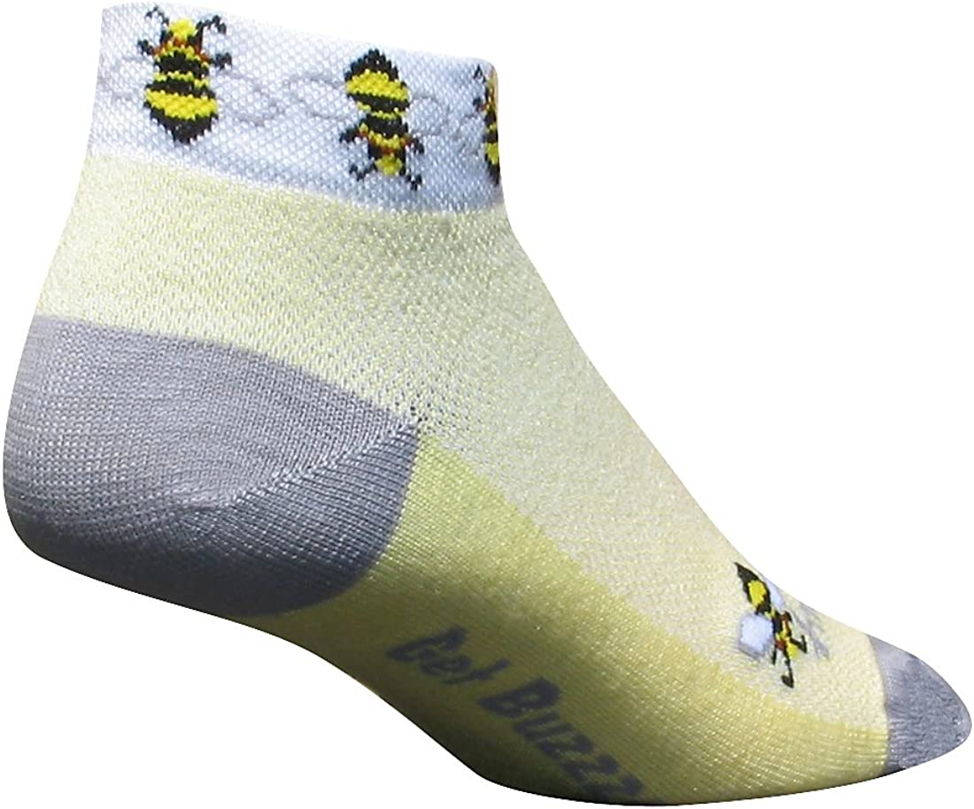 SockGuy, Classic Low Cut Socks, 1-Inch Cuff Height - Small/Medium, Get Buzzed, Bees