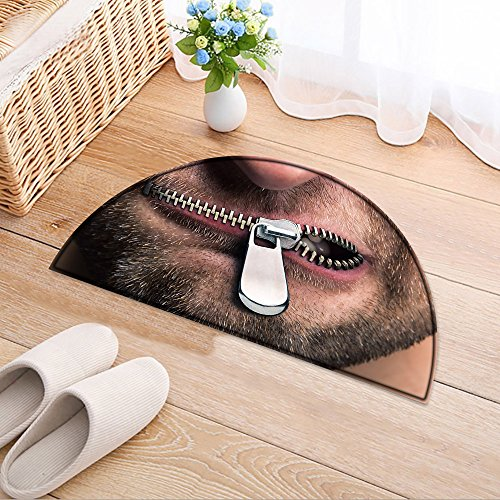 NALAHOMEQQ Entry Doormat Insubordinate man with zipped mouth Entryway Half Moon Door Mat(23.6x15.7 (Zipped Entry)