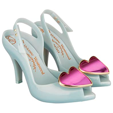 Vivienne Westwood Blue Ladydragon Heart Womens Peep Toe Shoe Blue Patent UK  4
