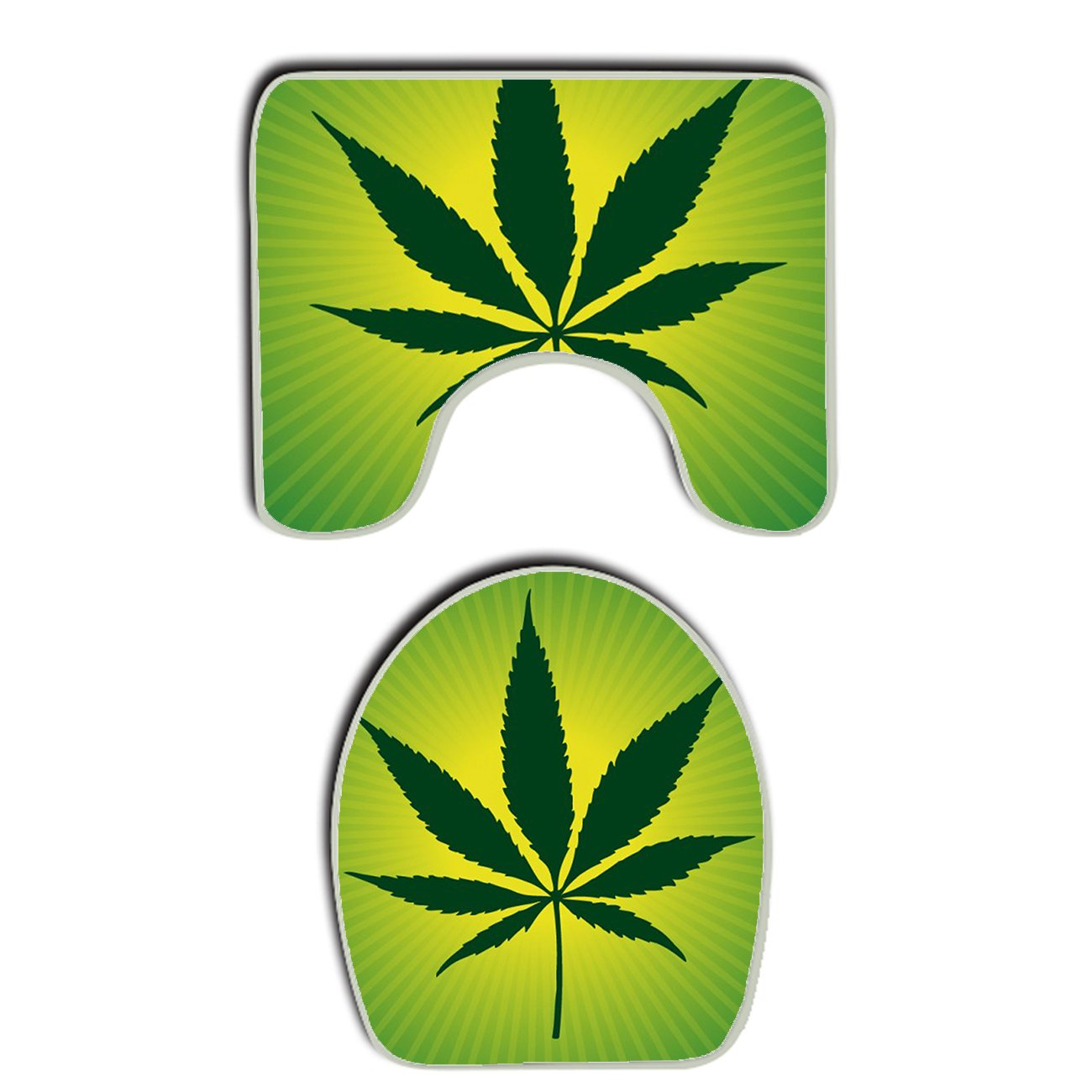 AMERICAN TANG Marijuana weed Leaf green Bathroom Carpet Rug, Non-Slip 2 Piece Bathroom Mat Set Decoration