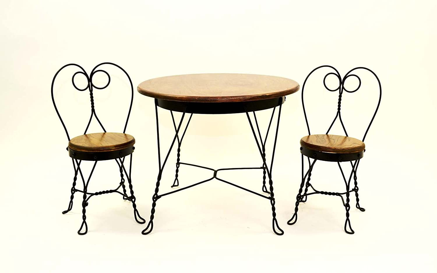 Amazon.com: Antique Reproduction Childs Ice Cream Parlor Furniture Set.  Table And 2 Chairs. Made The Old Fashioned Way, With Only Bends And Rivets,  ...