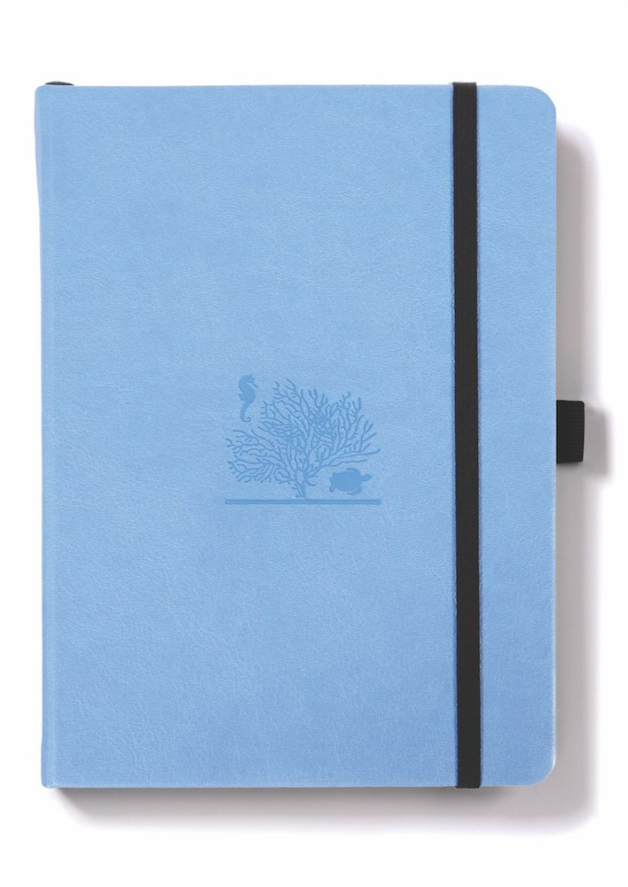 Dingbats Earth Notebook, Medium A5+ (6.2 x 8.5), Hardcover, PU Leather, 100gsm Coated Paper, Numbered Pages, Pocket, Elastic, Pen Holder, 2 Bookmarks (Dotted, Sky Blue - Great Barrier Reef)