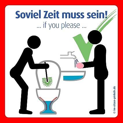 Cartel con mensaje «Bitte im Sitzen pinkeln Aufkleber ...