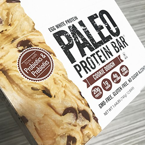 Paleo Protein Bar® (Chocolate Chip Cookie Dough) 12 Bars (20g Egg White Protein) 4 Net Carbs