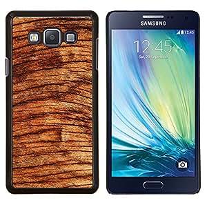 KLONGSHOP // Cubierta de piel con cierre a presión Shell trasero duro de goma Protección Caso - Árbol de madera Círculos Marrón Naturaleza Selva - Samsung Galaxy A7 A7000 //