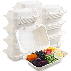 I00000 100-Pack 100% Compostable Food Containers, Disposable Togo Clamshell Containers with lid, Biodegradable Microwave Safe Take Out Lunch Boxes, Made from Renewable Materials (9X6