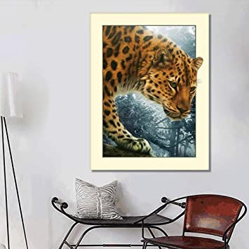 5D DIY Diamond Painting Leopard Cross Stitch Embroidery Rhinestones Craft