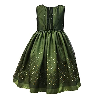 dbcd52b19 Amazon.com  Petite Adele Little Girls Green Taffeta Mesh Sequin ...